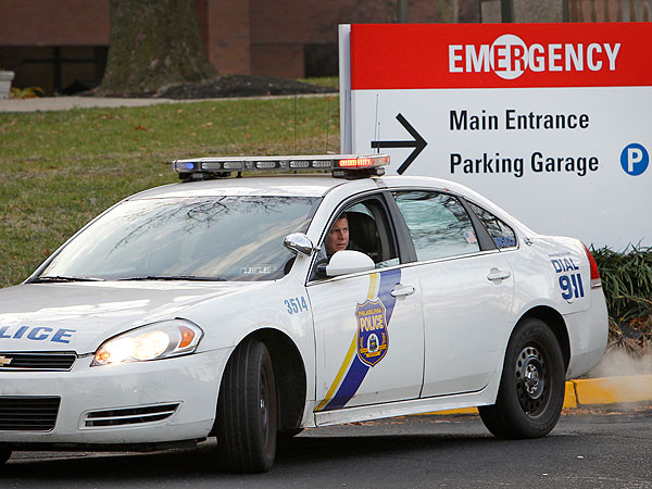 A 35th District patrol officer was at Einstein Hospital on Friday, Nov. 30, 2012. A fellow officer was brought int the emergency room after allegedly having a heart attack while apprehending a suspect at 7th and Loudon streets. (Alejandro A. Alvarez / Staff Photographer)