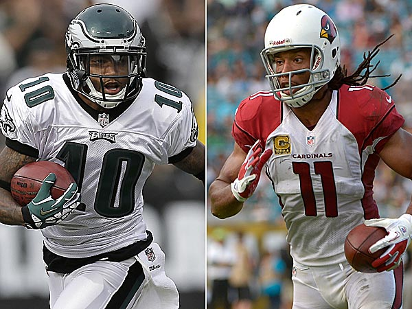 Eagles wide receiver DeSean Jackson and Cardinals wide receiver Larry Fitzgerald. (AP photos)
