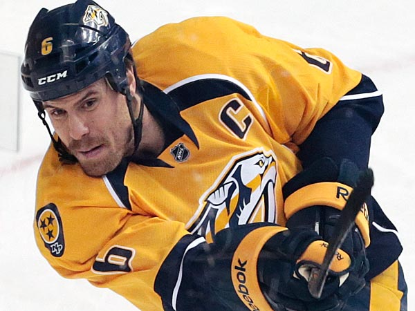The Flyers won´t have to contend with the Predators´ star defenseman. (AP Photo/Mark Humphrey)