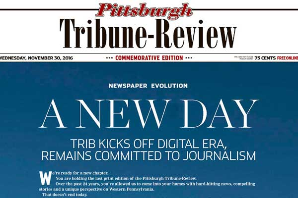 pittsburgh tribune review ends print publication philly