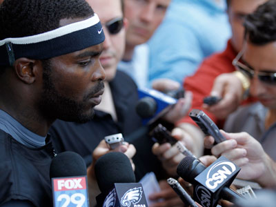 "Michael Vick told reporters Saturday that they ""create a lot of turmoil for us sometimes."" (Alex Brandon/AP file photo)"