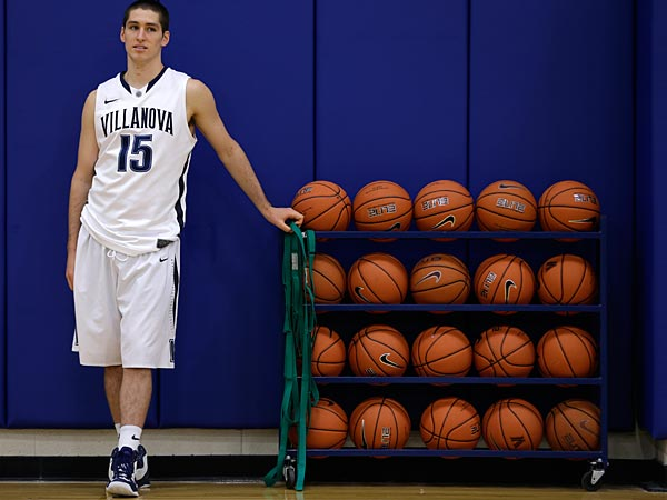 Villanova guard Ryan Arcidiacono waits to speak to members of the media during NCAA college basketball media day Tuesday, Oct. 22, 2013, in Villanova, Pa. (AP Photo/Matt Rourke)