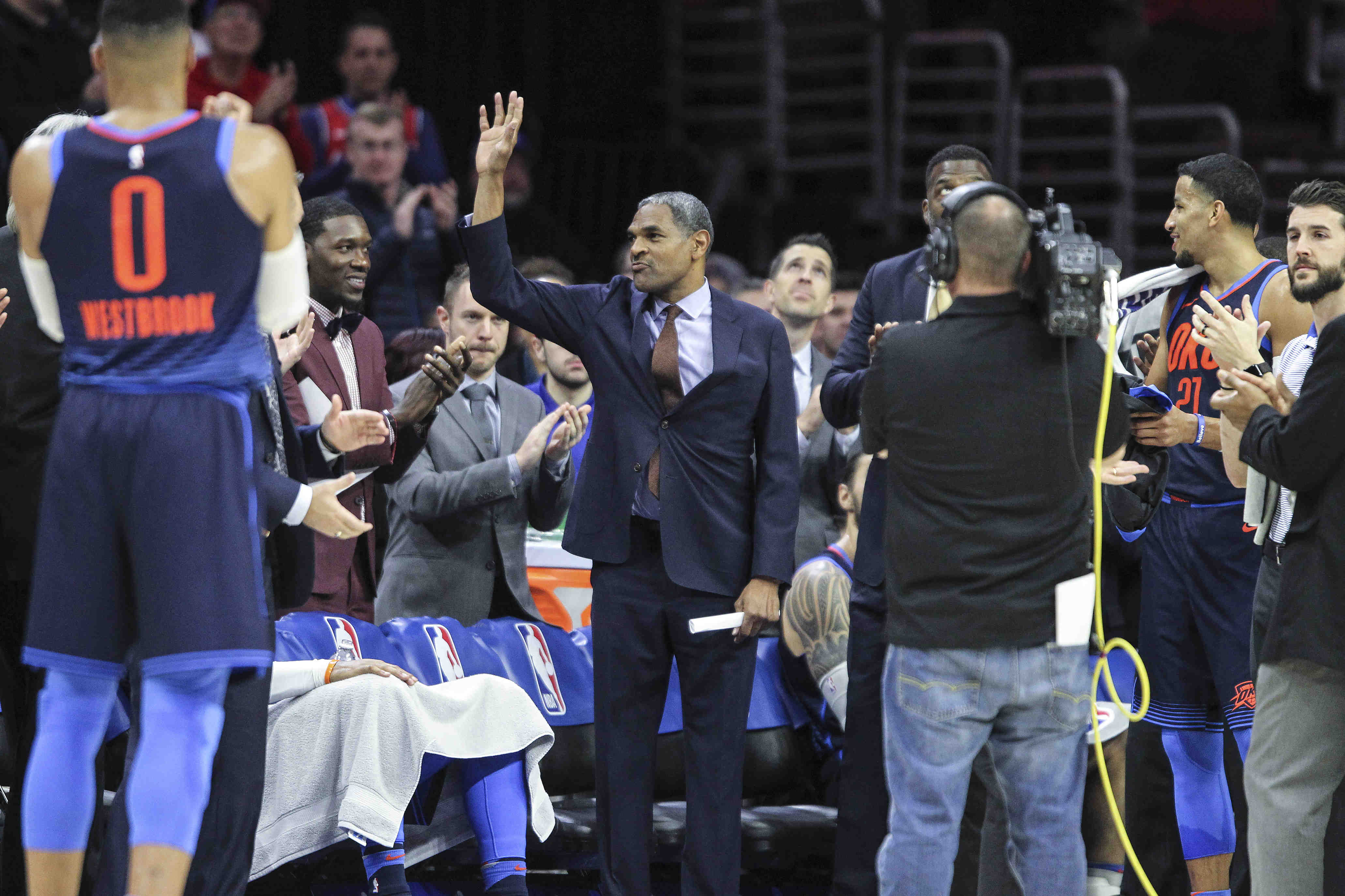 Sixers´ recognized  Thunder´s Assistant Coach Maurice Cheeks former Sixers star player before their game at the Wells Fargo Center in Philadelphia, Friday, December 15, 2017. The Thunder beats the Sixers in Triple overtime 119-117.  STEVEN M. FALK / Staff Photographer