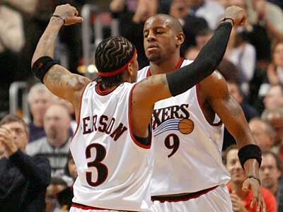 Allen Iverson and Andre Iguodala will reunite Monday night when Iverson makes his debut at the Wachovia Center. (Jerry Lodriguss / Staff file photo)