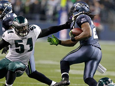 Eagles LB Jamar Chaney (51) missed a team-high four tackles against the Seahawks. (Ron Cortes/Staff Photographer)