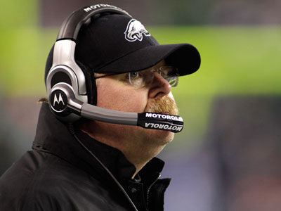 Andy Reid looks on as his Eagles fall to the Seahawks Thursday night. (AP Photo/Ted S. Warren)
