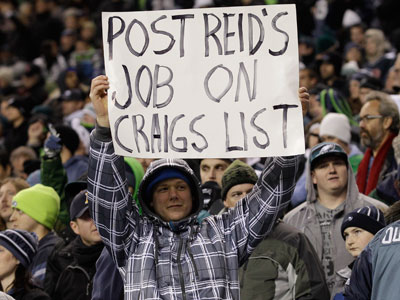 After a disappointing showing Thursday night in Seattle, some Eagles fans are calling for Andy Reid´s dismissal. (AP Photo/Ted S. Warren)