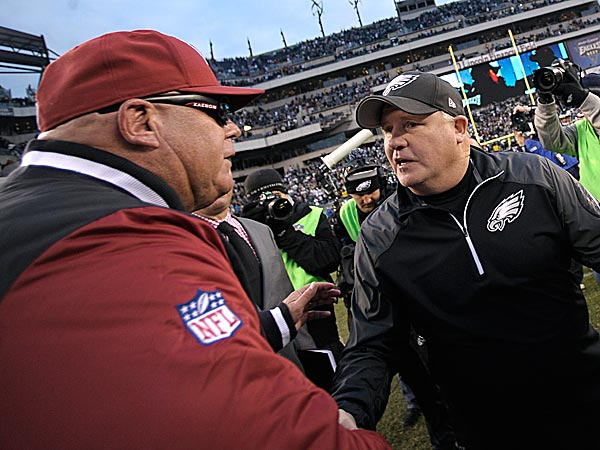 Eagles head coach Chip Kelly and the Cardinals head coach Bruce Arians. (Michael Perez/AP)