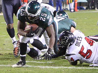 LeSean McCoy crossed the goal line twice in the win over the Texans last night. (Steven M. Falk / Staff Photographer)