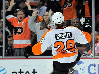 Flyers forward Claude Giroux scored the game-winning goal in overtime on Friday night against the Ducks. (Mark J. Terrill/AP)