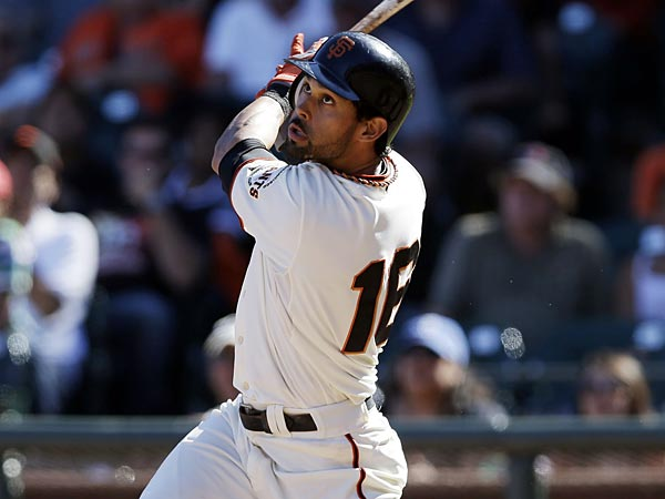 San Francisco Giants´ Angel Pagan in action against the Arizona Diamondbacks during a baseball game on, Monday, Sept. 3, 2012 in San Francisco. (AP Photo/Marcio Jose Sanchez)
