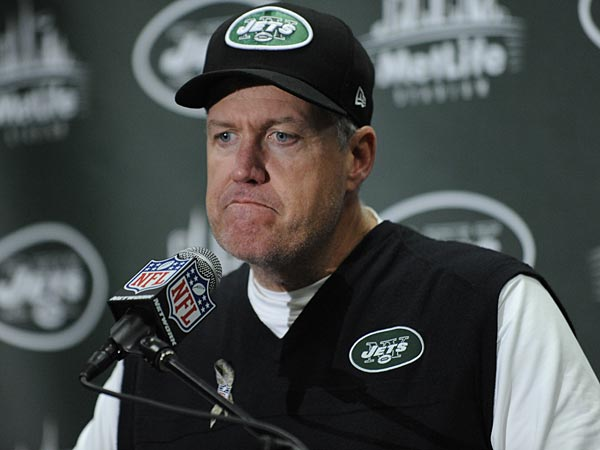 New York Jets head coach Rex Ryan talks during a post-game news conference after of an NFL football game against the Arizona Cardinals, Sunday, Dec. 2, 2012, in East Rutherford, N.J. The Jets won 7-6. (AP Photo/Bill Kostroun)