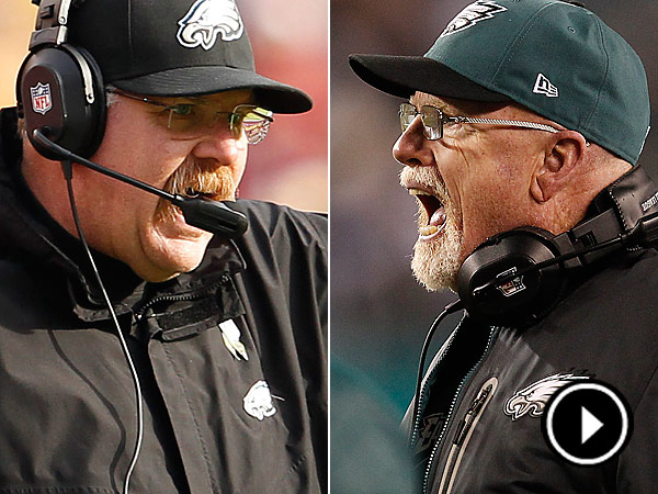 Andy Reid, left, fired defensive line coach Jim Washburn on Monday. (Staff Photos)