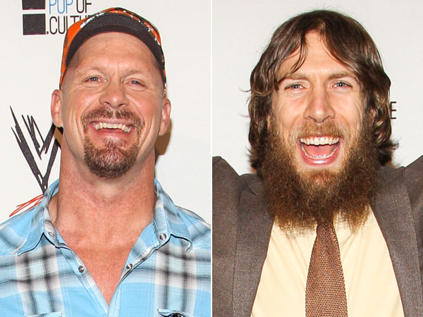 Steve Austin and Daniel Bryan. (Photos by Paul A. Hebert/Invision/AP)
