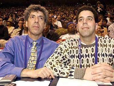 Phil Jasner (left) with his son Andy at the 2002 NBA All-Star Game. (David Maialetti/Staff file photo)