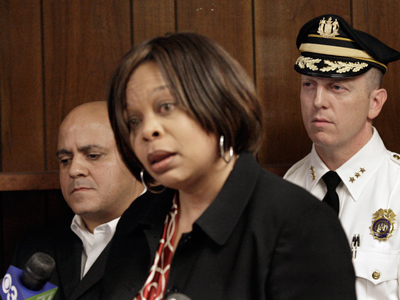 Camden Mayor Dana L. Redd with Council President Frank Moran (left) and Police Chief Scott Thomson. (Staff File Photo)