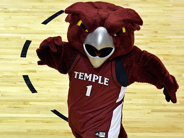 In this March 20, 2009, file photo, the Temple Owl mascot dances on the court during a first-round men´s NCAA college basketball tournament game in Miami. (Photo/Lynne Sladky, File)