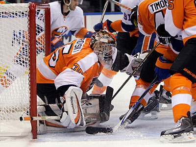 Flyers goalie Sergei Bobrovsky looks for the puck in the second period against the Islanders. (AP Photo/Seth Wenig)