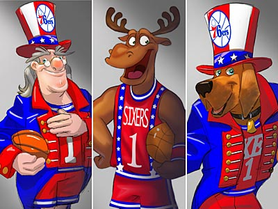 Sixers fans can choose Big Ben (left), Phil E. Moose (center), or B. Franklin Dogg (right) to be the next mascot.