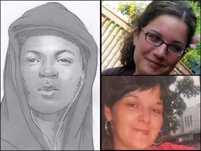 Police reissued this sketch of a suspect based on a description by a woman who survived an attempted strangling. Meanwhile, Elaine Goldberg, top right, was fatally strangled, as was Christine  Piacentini, lower right.