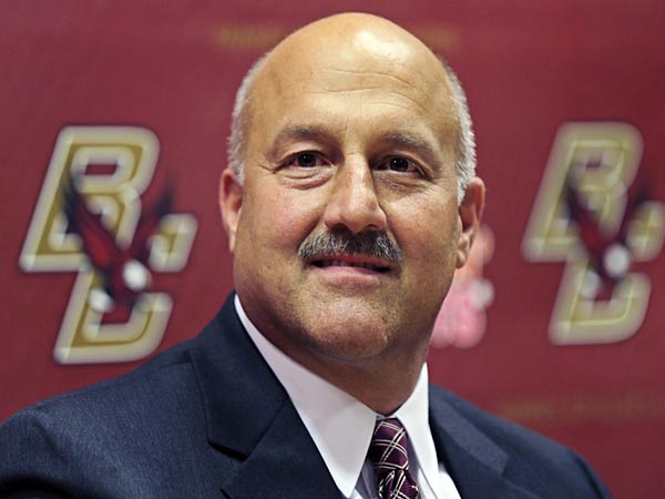 Steve Addazio smiles during a news conference where he was introduced as the new football head coach for Boston College in Boston, Wednesday, Dec. 5, 2012. Addazio, a Connecticut native, was hired to replace Frank Spaziani. He takes over a program that finished last in the Atlantic Coast Conference last season. (AP Photo/Charles Krupa)