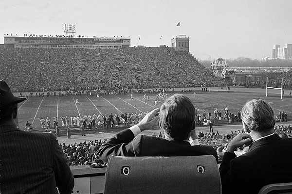 President John F. Kennedy watched the December 1, 1962 Army-Navy game at what was then known as Philadelphia Municipal Stadium. The stadium was renamed in Kennedy´s honor in 1964, a year after his death. (AP file photo)