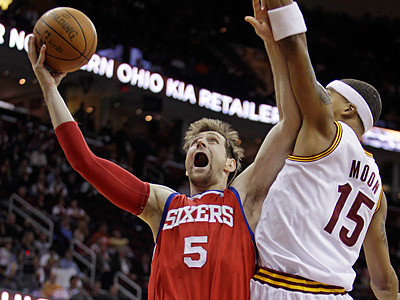 Andres Nocioni and the Sixers take on the Cavaliers tonight for the third time this season. (AP Photo/Tony Dejak)