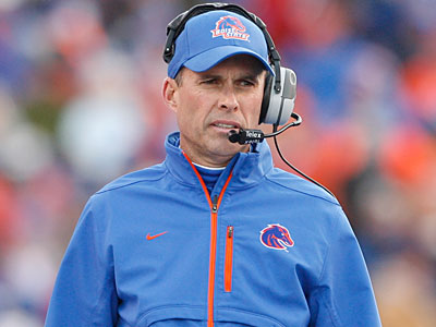 Boise State head coach Chris Petersen helms a program with strong academic and athletic success. (Joe Jaszweski, Idaho Statesmen/AP)
