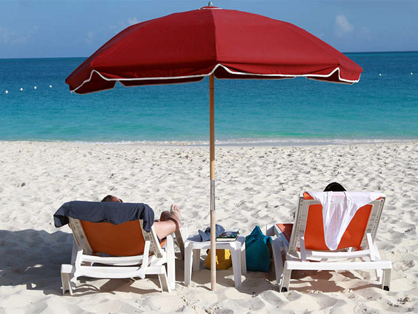 Grace Bay Beach is a 12-mile stretch of sparkling white sand on Providenciales, in the Turks and Caicos islands.