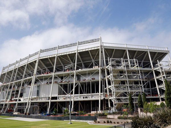 The new Levi´s Stadium is seen in Santa Clara, Calif., Tuesday, June 11, 2013. Construction of the new San Francisco 49ers stadium has been stopped after a worker was found dead in an elevator shaft early Tuesday. (Marcio Jose Sanchez/AP)