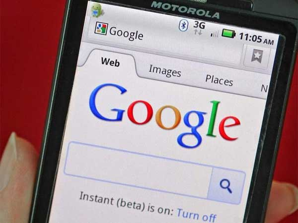 The Google homepage is seen on a Motorola Mobility Holdings Inc. device. Google acquired Motorola Mobility, based in Horsham, in May.