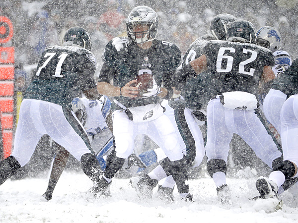 Eagles quarterback Nick Foles in action during the first half against the Lions. (Matt Rourke/AP)