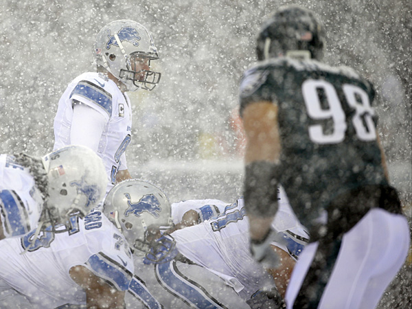 Lions quarterback Matthew Stafford stands at the line during the first half against the Eagles. (Matt Rourke/AP)