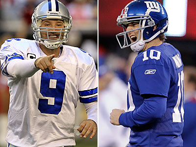 Tony Romo and Eli Manning will meet on Sunday night. (AP Photos)