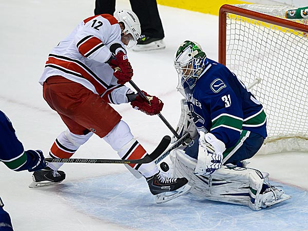 The Hurricanes´ Eric Staal is stopped by Canucks goalie Eddie Lack. (Darryl Dyck/The Canadian Press/AP)