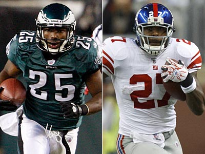LeSean McCoy and Brandon Jacobs lead their teams´ rushing games. (Staff and AP Photo)