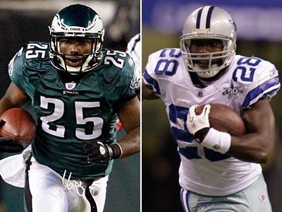 Eagles LeSean McCoy and Cowboys Felix Jones lead their teams´ rushing attacks. (Staff and AP Photos)