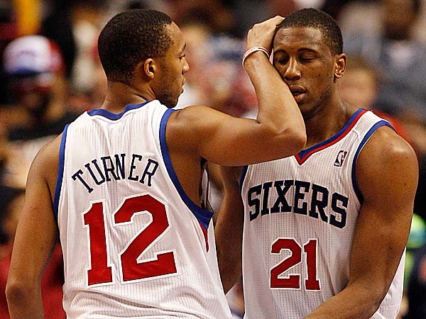 Sixers forward Thaddeus Young with teammate Evan Turner. (Yong Kim/Staff file photo)