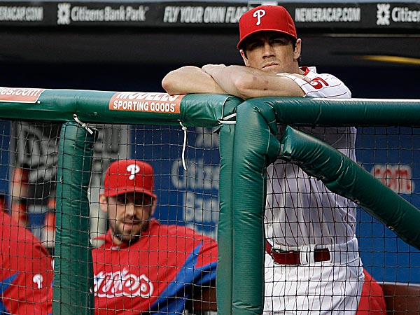 Phillies pitchers Cliff Lee and Cole Hamels. (Matt Slocum/AP)