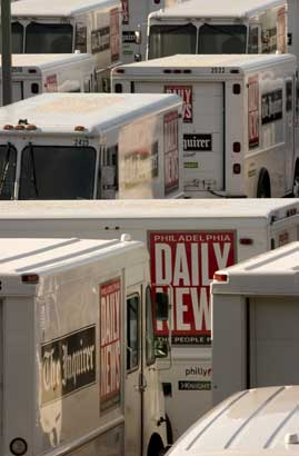 Inquirer / Daily News delivery trucks lined up at Philadelphia Media Holdings´ Conshohocken printing plant. (Inquirer file photo)