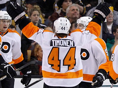 The Flyers could ill afford an injury to Kimmo Timonen with Chris Pronger already out.