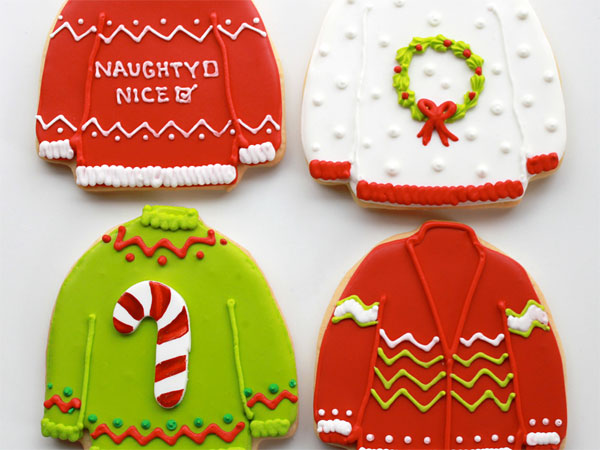 Whipped bake shop carries these ugly sweater Christmas cookies.