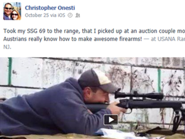Christopher Onesti, who retired on disability seven years ago after an accident with a stapler, fires his SSG 69 recently at an Ocean Co. rifle range. (Facebook)