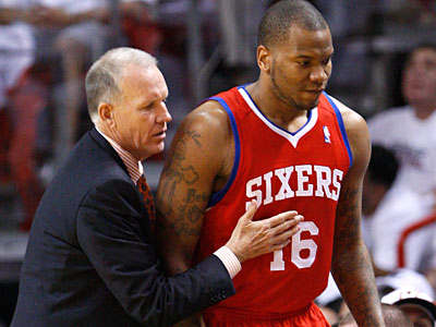 "Sixers coach Doug Collins said not getting the best out of Marreese Speights was his ""biggest failure"" last season. (Wilfredo Lee/AP Photo)"