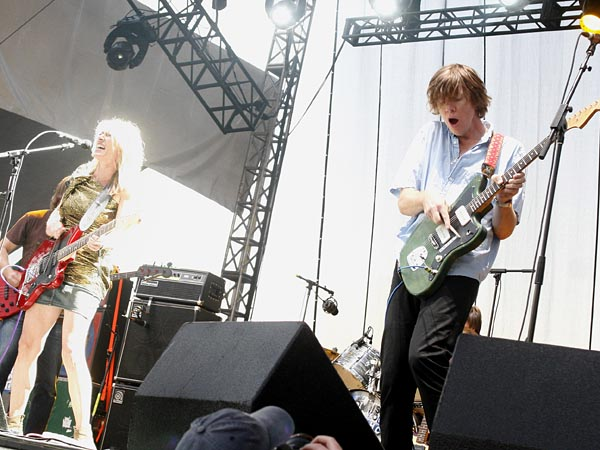 Thurston Moore, right, and Kim Gordon of Sonic Youth perform at the Austin City Limits Music Festival in Austin, Texas on Friday, Oct. 8, 2010.(AP Photo/Jack Plunkett)