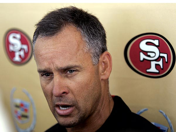 San Francisco 49ers coach Mike Nolan speaks during a news conference after the first day of practice at the football team´s training camp in Santa Clara, Calif., Friday, July 28, 2006. (AP Photo/Paul Sakuma)