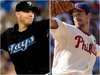Rumors are swirling that the Phillies will get Toronto pitcher Roy Halladay, left, from Toronto by trading Cliff Lee to a third team. (File photos)