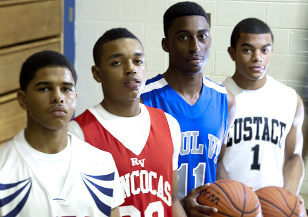 Point guards (from left) Tyrell Maloney of Willingboro, Tariq Jett of Rancocas Valley, Ron Curry of Paul VI and Carson Puriefoy of Bishop Eustace.  (David M Warren / Staff Photographer)