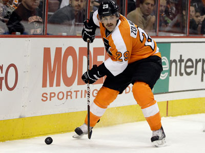 Harry Zolnierczyk has three goals and two assists in 34 games with the Flyers this season. (Matt Slocum/AP)