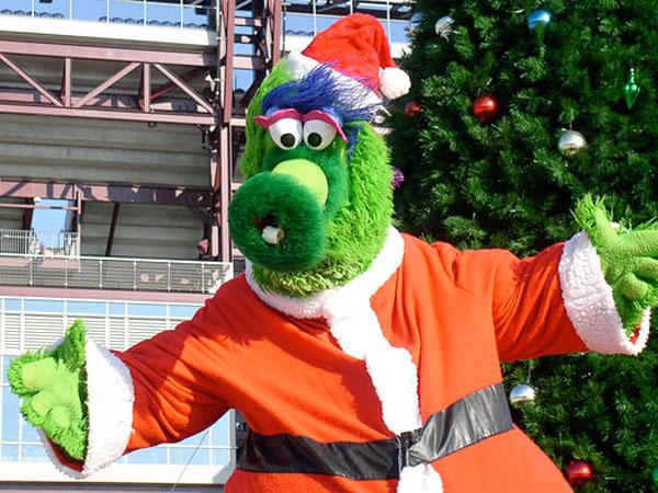 The Phanatic dressed as Santa.